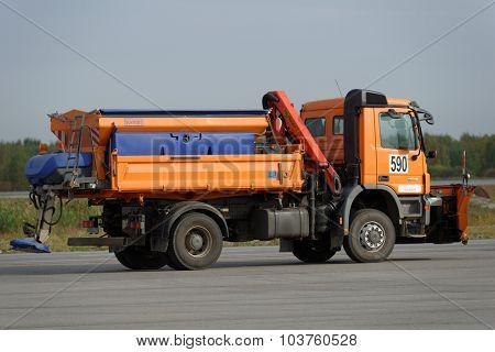 ST. PETERSBURG, RUSSIA - SEPTEMBER 24, 2015: Snow removal vehicle during the annual review of equipment in the Pulkovo airport. The review is held in order to prepare to winter