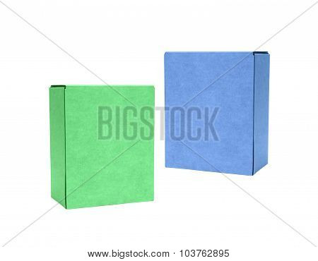 Green and blue cardboard boxes isolated on white