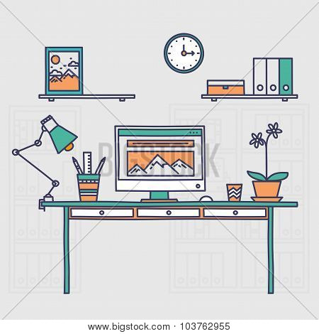 Workspace. Hand drawn office interior or home workplace freelancer in linear style.