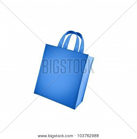 Blue shopping bag isolated on white background