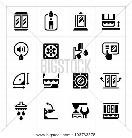 Set Icons Of Shower Cabin