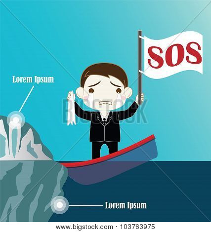 Businessman On Sinking Boat Collide Iceberg