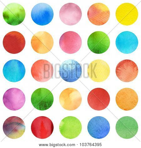 Seamless retro geometric pattern with polka dots. Colored ornament isolated on white. Watercolor background, wrapping paper. Blue, red, green and yellow circles.