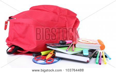 Red bag with school equipment isolated on white