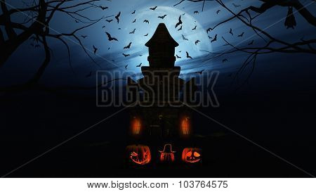 3D render of a Halloween background with pumpkins and spooky castle