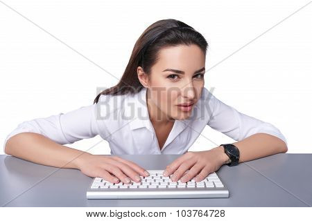 Business woman pointing at imaginary button