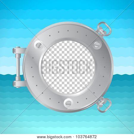 Round Frame Porthole With Photo Placeholder. Naval Theme.