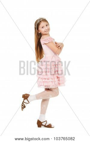 Cute little girl with a diadem isolated