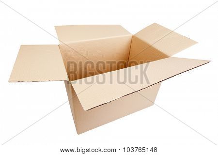 Opened cardboard box on white background