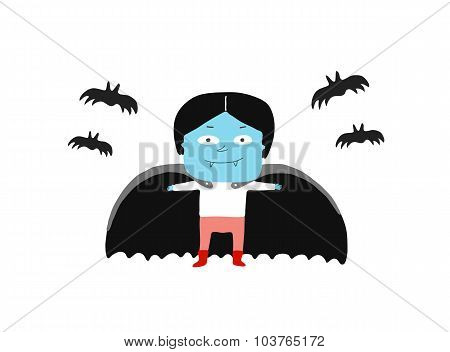 Boy In A Vampire Costume And Bats, Vector Illustration