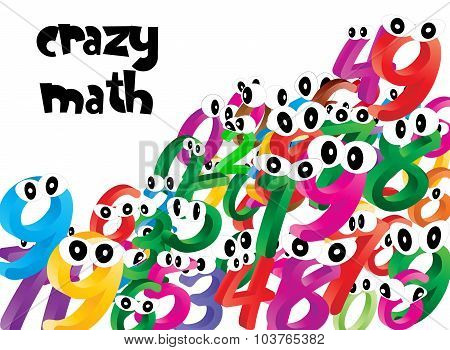 Background Of Falling Cartoon Numbers, Digits With Eyes. Funny, Cheerful And Colorful Illustration F