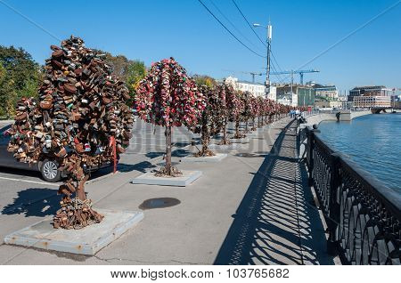 MOSCOW, RUSSIA - 21.09.2015. Trees with locks of lovers on  trees at Bolotnaya waterfront