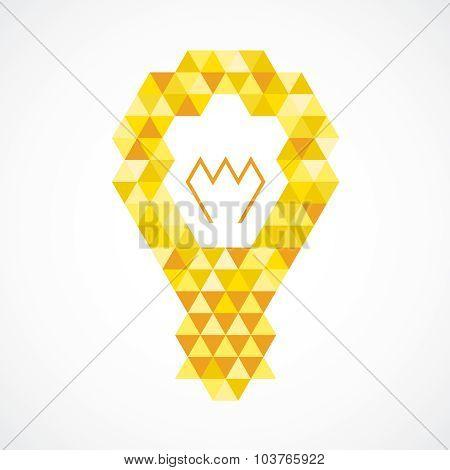 Light Bulb Creative Idea Concept. Orange And Yellow Triangles Pattern.