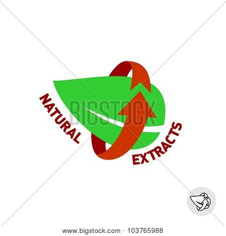 Natural Extracts Green Leaf Eco Sign Badge.