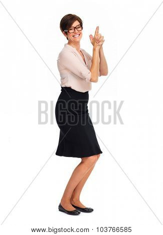 Beautiful business woman with short hairstyle isolated white background