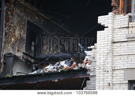 Second floor of burned out building