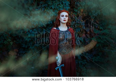 Beautiful Girl With A Sword Standing And Looking.