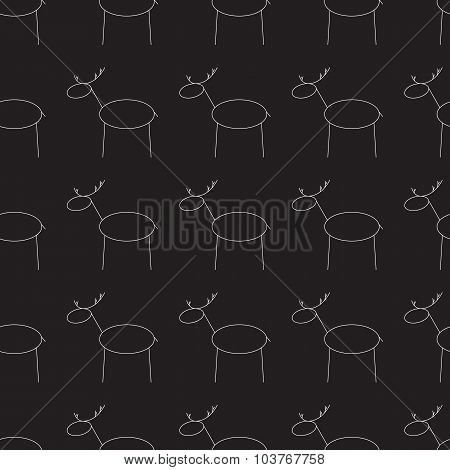 Pattern With Repeating Reindeers On Black Background