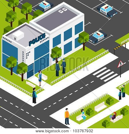 Police department station isometric poster