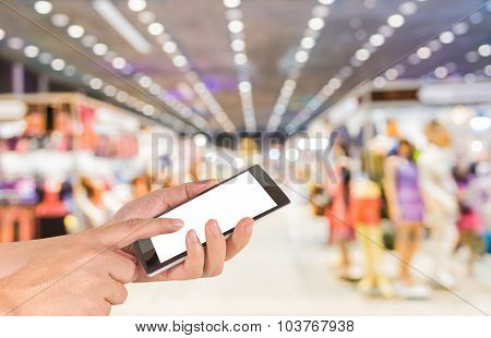 Blurred Image Of People Walking At Shopping Mall , Blur Background With Bokeh