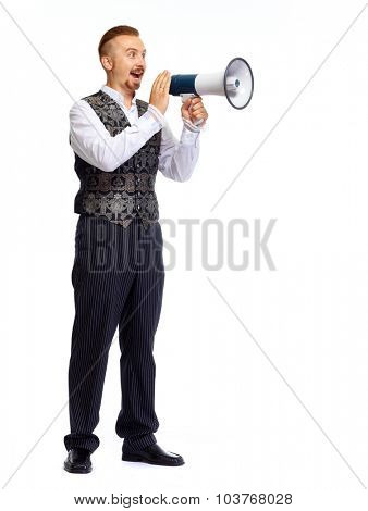 Young man talking in megaphone isolated on white background.