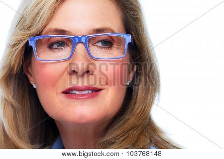 Beautiful elderly lady wearing eyeglasses close-up.
