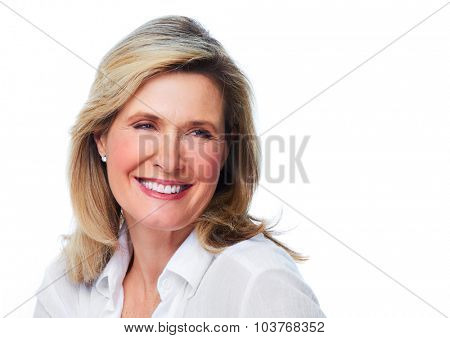 Beautiful elderly lady portrait. Isolated on white background.