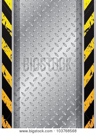 Industrial Background With Tire Tracks And Striped Bars