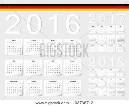 Set Of German 2016, 2017, 2018 Vector Calendars