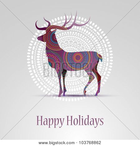Happy holidays greeting card with a deer, eps10 vector