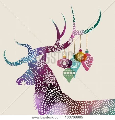 Happy holidays greeting card with a deer and baubles, eps10 vector