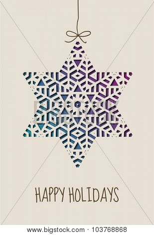 Happy holidays card with ornamental star, eps10 vector
