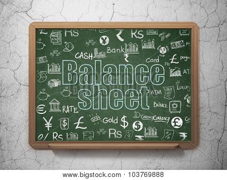 Currency concept: Balance Sheet on School Board background
