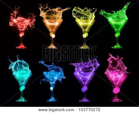 Set of colorful Bright cocktails in glasses on black background