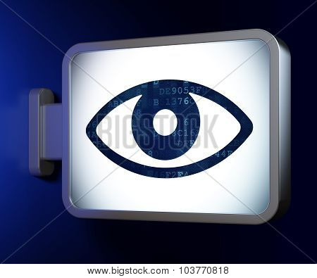 Protection concept: Eye on billboard background