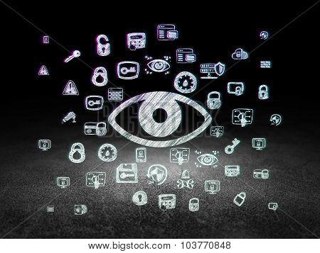 Privacy concept: Eye in grunge dark room