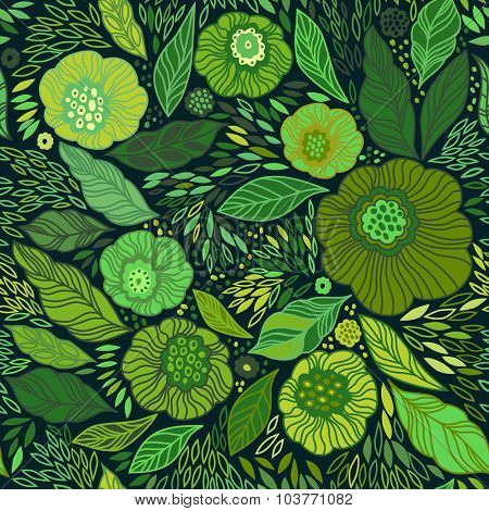 Decorative floral seamless background pattern in bright green colors. Vector illustration