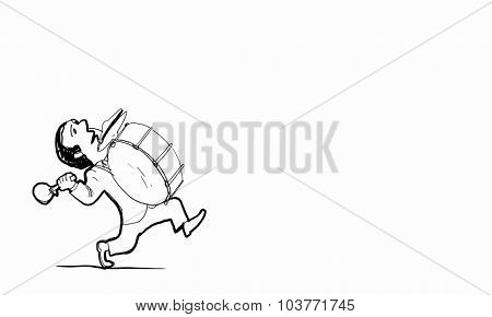 Caricature of funny man playing big drum