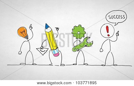 Caricature image of idea investment process and success on white background