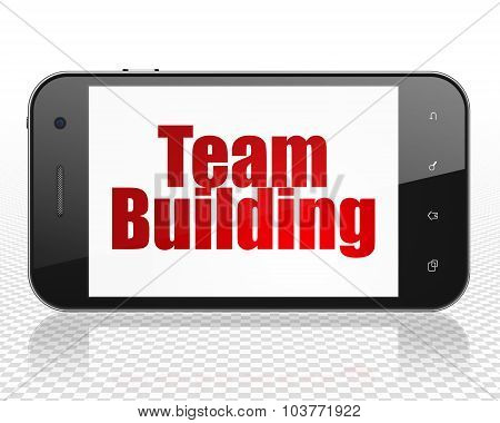 Finance concept: Smartphone with Team Building on display