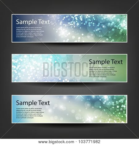 Set of Horizontal Christmas, New Year or Other Holidays Banner / Cover Background Designs - Colors: Blue, Green, Brown