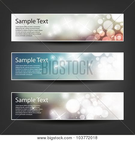Set of Horizontal Christmas, New Year or Other Holidays Banner / Cover Background Designs - Colors: Blue, Brown, White