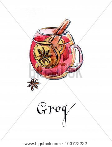Glass Of Hot Red Grog