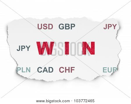 Business concept: Win on Torn Paper background