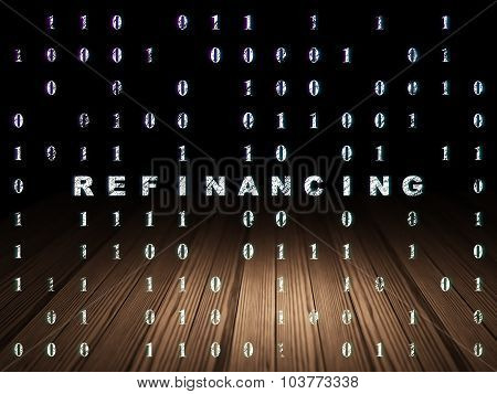 Finance concept: Refinancing in grunge dark room