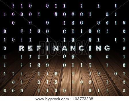 Finance concept: Refinancing in grunge dark room