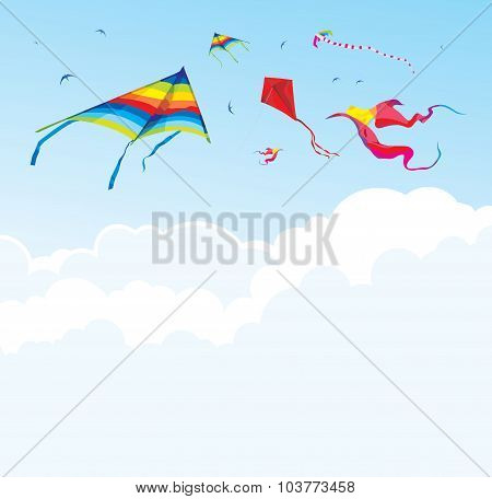 Kites and birds on the background of sky and clouds - vector