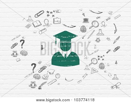 Education concept: Student on wall background