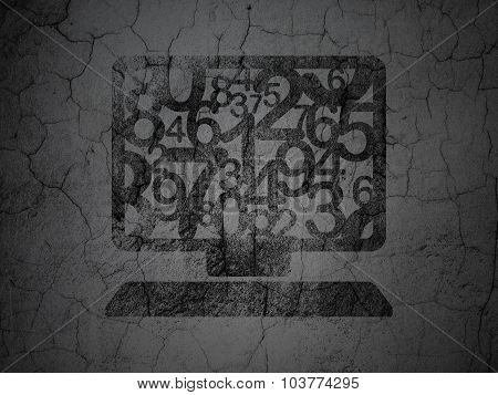 Studying concept: Computer Pc on grunge wall background
