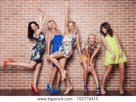 Group Of Cheerful Beautiful Woman On Brick Background. Bachelorette.